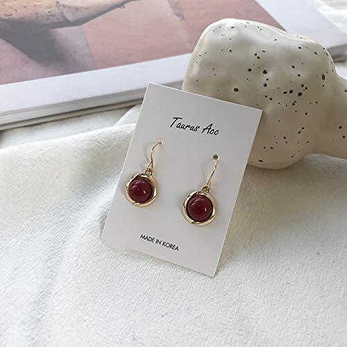 Chwewxi Senf Retro kleine Ohrringe Exquisite Superfee Ohrringe weibliches Temperament koreanische Wilde Ohrringe, Retro rot