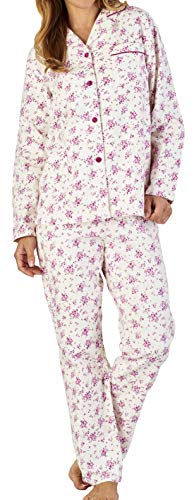 Slenderella Damen Creme kleine Blume drucken 160g/m² 100% weich gebürstet Flanell Baumwolle geknöpft Langarm Pyjamas XXX groß 54 56
