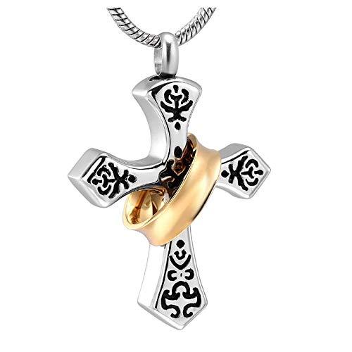 Wxcvz Colgante para Conmemorar Collar De Cruz Religiosa Negra Y Plateada para Cenizas Cremación Recuerdo Urna Conmemorativa Collares Pendientes