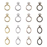 OLYCRAFT 40pcs Pocket Watch Theme Open Bezel Charms 2-Style & 4-Color Alloy Frame Pendants Hollow Resin Frames with Loop for Resin Jewelry Making