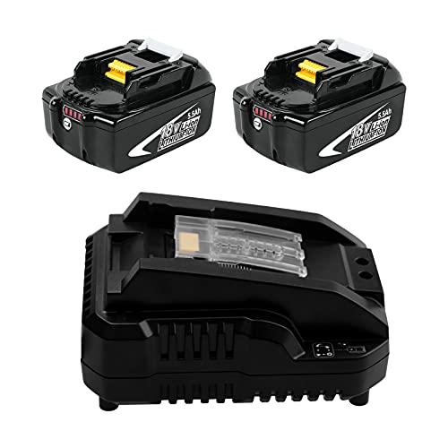 Moticett 2 Paquetes de Batería BL1860B y Cargador 14.4-18V 3A DC18RC Batería de Repuesto para Makita 18V Li-Ion BL1860B BL1850 BL1840B BL1830B LXT-400 y Cargador DC18RCT DC18RA DC18RD