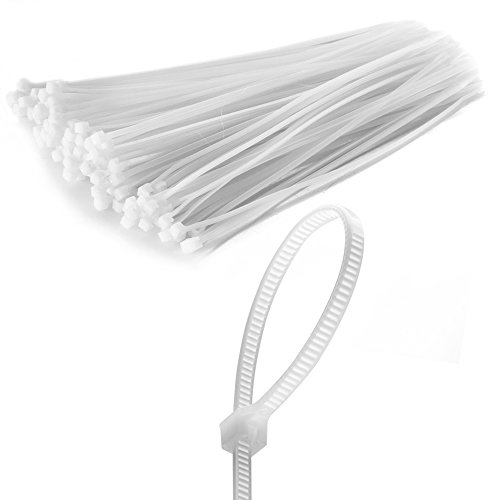 Flexzion Zip Tie Cable Wire Wrap 100 pcs 8 Inch Self Locking Heat UV Resistant Bulk Industrial Plastic Nylon Fasten Strap UL Listed for Organizing Wires, Home & Office Use (White)