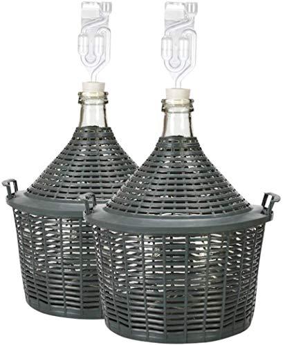 lilawelt24 2X 10 L Glasballon + Gummistopfen+GÄRRÖHRCHEN, Gärballon mit Kunststoffkorb, Weinballon, Flasche, Glasflasche, Gallone, Gärbehälter, Glasgärballon, Gäreimer