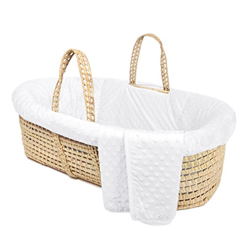 Tadpoles Minky Dot Moses Basket & Bedding Set, White