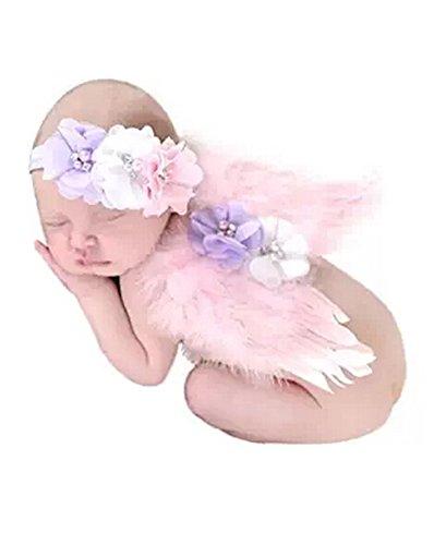 Baby Fotoshooting Kostüm Neugeborene Fotografie Requisiten Engelsflügel Flügel Outfits mit Hut Rosa