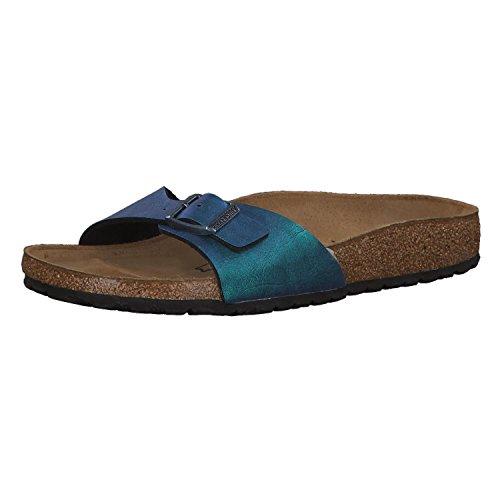 BIRKENSTOCK Madrid BF Graceful Damen Sandaletten,Frauen Sandalen,elegant,edel,Seidenglanz,Orig Fußbett,Blau,EU 42S