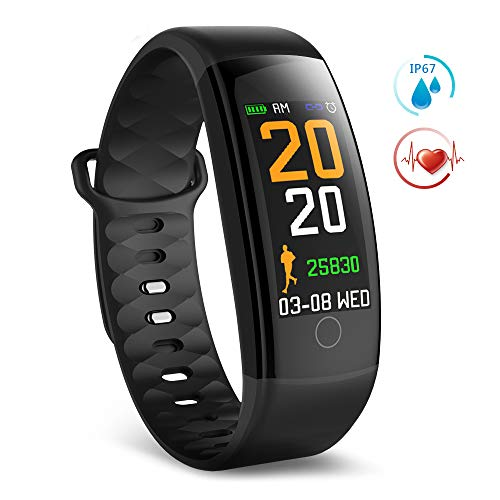 TECKEPIC Fitness Tracker Sport Band - Waterproof Activity Tracker with Heart Rate Monitor, Steps and Calories Counter, Pedometer Wrist Watch for Women and Men, Replacement Band Included