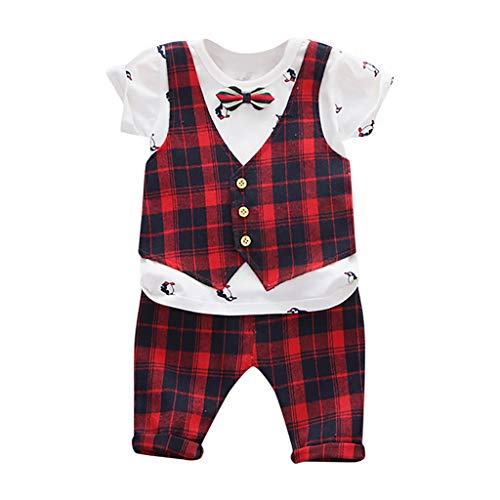 sunnymi 0-3 Jahre Kleinkind Baby Kinder Jungen Pinguin Bogen Plaid Patchwork Tops Shorts Gentlement Set