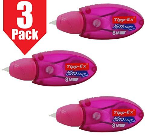 Tipp-Ex Micro Tape Twist correttore nastro per riscrittura istantanea, colore rosa, confezione da 3