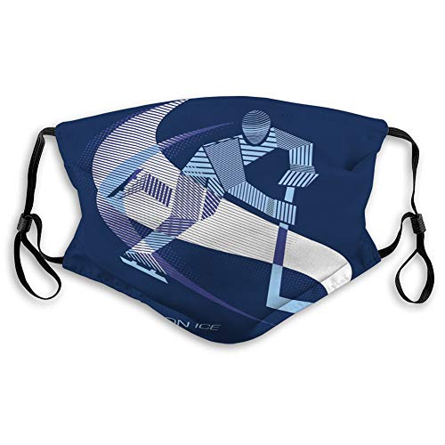 Illustration ice Hockey Players Sport m Reusable Face Mask Mouth Masks