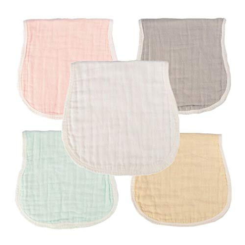 MUKIN Muslin Burp Cloths - Baby Burp Cloth Sets for Unisex. Perfect for Newborn Baby Burping Cloths/Burp Bibs. Baby Shower Gift for Boys and Girls. Newborn Burping Rags(5 Pack,Multicolored)