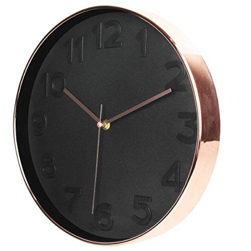 Les Trésors De Lily [Q1687 - Horloge silencieuse 'Design' Noir doré rosé - 30.5cm