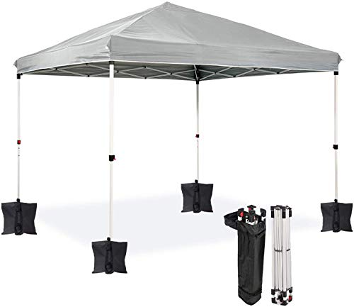 Dawsons Living Waterproof Premium One Touch Garden Gazebo - Choice of Colours - 3m x 3m Heavy Duty Pop Up Outdoor Garden Shelter - PVC Coated - Travel Bag and 4 Leg Weight Bags (Grey)