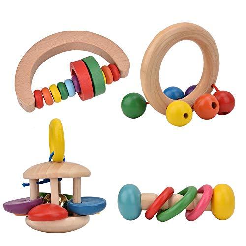Jouets pour bébé hochets Ensemble, 4pcs bébé hochets en Bois sûrs saisir Jouets pour bébés, Instrument de Musique précoce Jouets éducatifs de Puzzle pour Tout-Petit, bébé