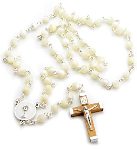 Rosario Mi Primera Comunión de Nácar, Medalla con el Cáliz y Cruz de Madera. Incluye Bolsita Azul con Cruces Estampadas. Regalos para Primera Comunión niño