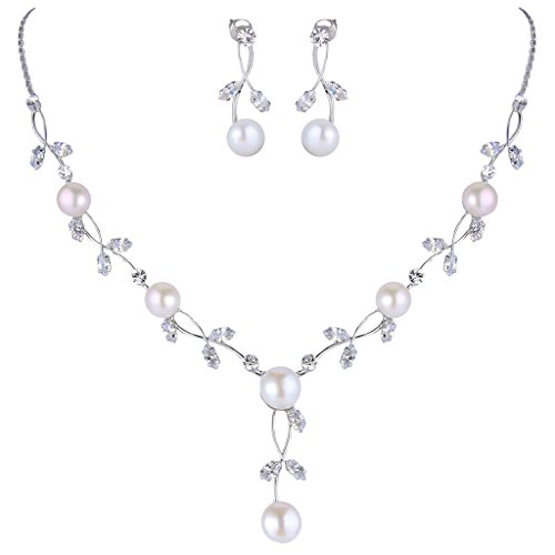 EVER FAITH CZ Crystal Cream Simulated Pearl Floral Vine Filigree Necklace Earrings Set Clear Silver-Tone