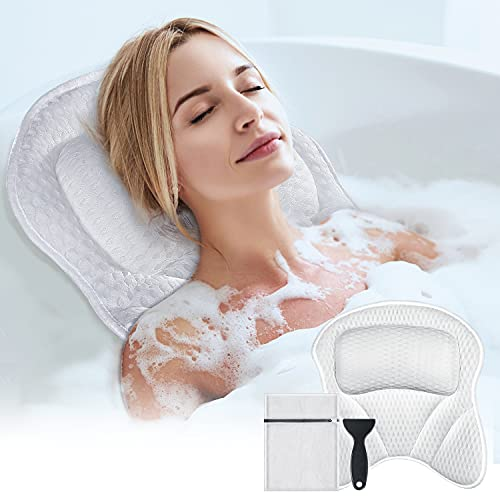 Bath Pillow for Tub, Powsure Luxury Bathtub Spa Pillow for Head, Neck,Shoulder and Back Support, 4D Air Mesh & Soft Bath Tub Pillows with 6 Powerful Suction Cups, Fits all Bathtub and Home Spa