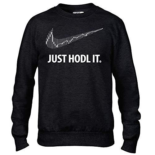 Generic Just Hödl It Kryptowährung Schwarz Pullover mit Rundhals Pulli Bitcoin Ethereum Litcoin Riffel BTC - Schwarz, L