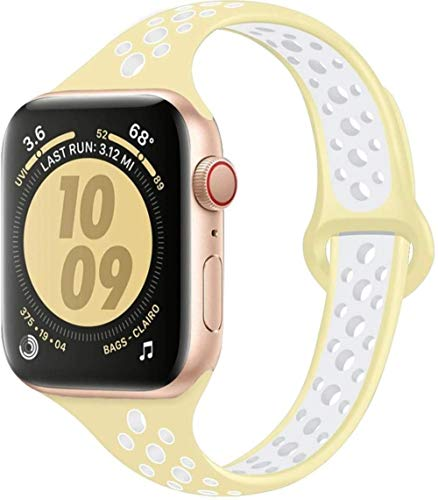 MIJI Correa Delgada para Apple Watch Band 40Mm 44Mm Iwatch Band 38Mm 42Mm Pulsera de Silicona Deportiva Transpirable Apple Watch 5 4 3 21 44 40, China, Amarillo Blanco