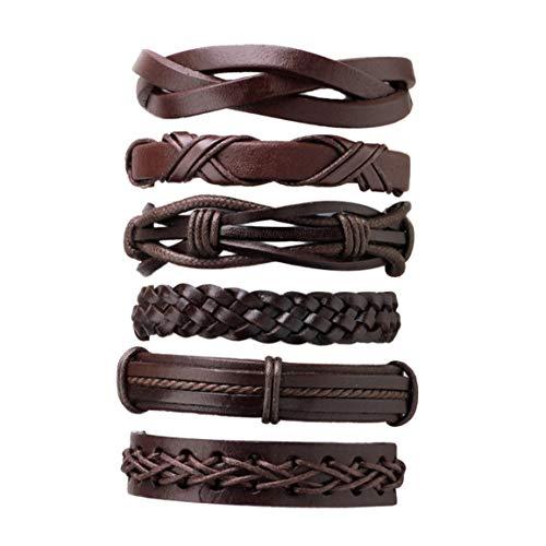 Kurphy 6 unids/set multicapa hombres color sólido pu cuero trenzado pulsera casual pulsera brazaletes joyería mejor regalo de cumpleaños