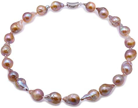 JYX Pearl Strand Necklace Natural Baroque Lavender Freshwater Cultured Pearl Necklace for Women
