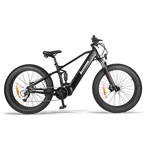 Accolmile Ebike with Mid Drive Motor 48V 1000W Bafang Mid Drive Motor 26' 4.0 Tire 9-Speeds Men Women Electric Bicycle with 12.8Ah Battery