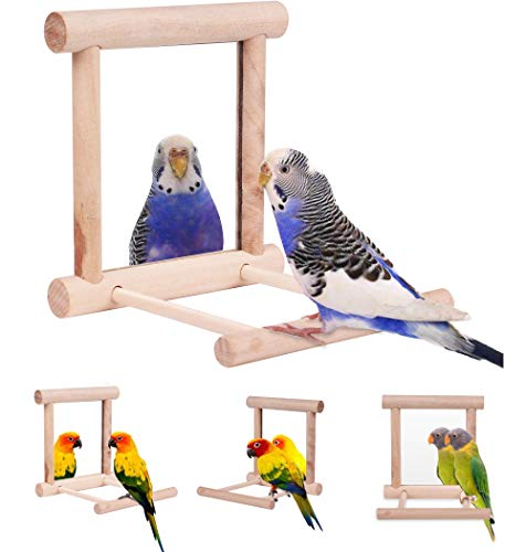 HAPPTYTOY Bird Toy for Parrot Parakeets Conures Cockatiels Cage Swing Wooden Fun Play Toy for Birds (Mirror)
