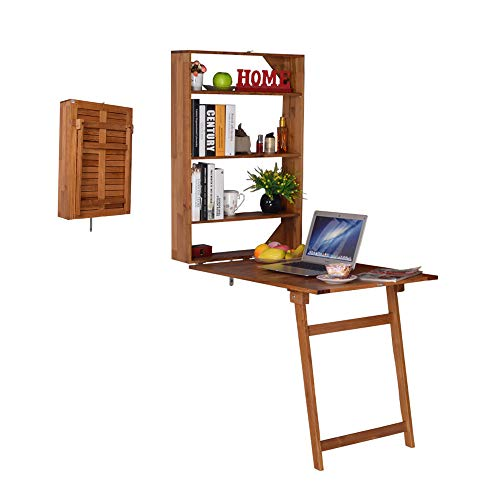 Facilehome Wall-Mounted Folding Desk,Multi-Function Fold Out Convertible Table with Storage Cabinet for Small Space,Home Office Use,Brown