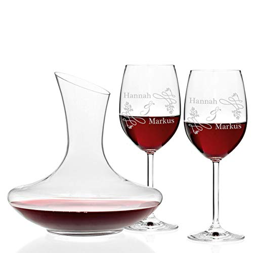 polar-effekt 3er Set Leonardo Weingläser 460ml und Weindekanter Personalisiert mit Gravur - Rotwein-Glas Geschenkidee für Paare zur Hochzeit - Motiv Hochzeitsornament