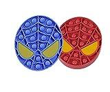 N\C Bubble Sensory Fidget Toy, 2 pezzi di giocattoli sensoriali a durevoli in Silicone morbido per trattare l'ansia e lo Antistress dell'autismo (Rosso + blu)