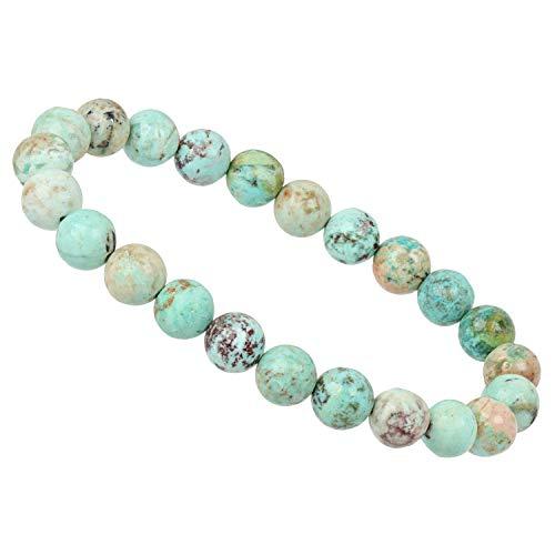 ELEDORO PowerBead - Pulsera elástica de perlas de piedras preciosas de 8 mm, turquesa peruana