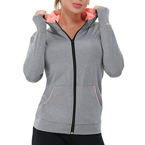 AMZSPORT Damen Laufjacke Sportjacke Langarm Trainingsjacke Sweatjacke mit Tasche Für Yoga Fitness Grau XL