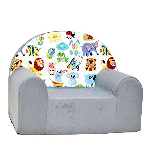 millybo Kindersessel Mini Sessel Kindermöbel Kinderstuhl Kindersofa viele Muster (A5-grau Tiere)