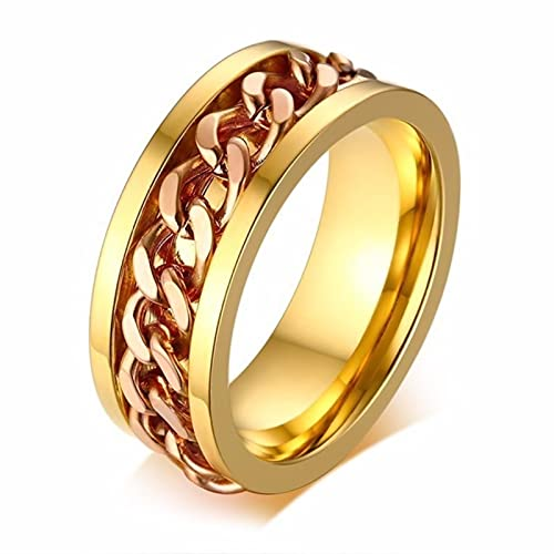 8mm Spinner Ring For Men Stainless Steel Cuba Chain Wedding Men's Anti Stress Jewelry