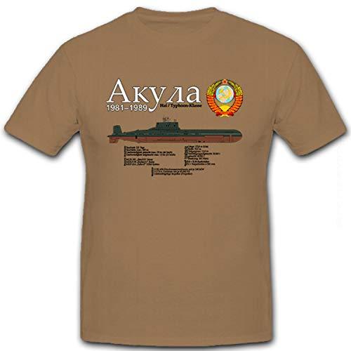 U-Boot Uboot Unterseeboot Projekt 941 Typhoon-Klasse Akula - T Shirt #8427, Größe:XXL, Farbe:Sand