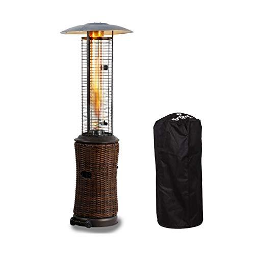 DNNAL Calentador de patio al aire libre, plegable, para ahorrar espacio, propano radiante, portátil, estufa de calefacción retro con cubierta de lluvia, para restaurante hotel, bar comercial