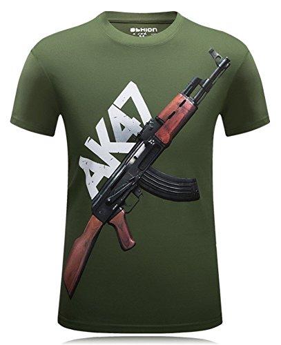 Angcoco Men's Short Sleeve Professional 3D Digital Print T Shirts AK-47