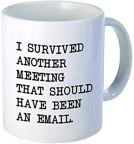 Sobreviví a otra reunión debería haber sido un correo electrónico Taza de café divertida por Donbicentenario Cerámica El mejor regalo o recuerdo NAVES DE EE. UU.