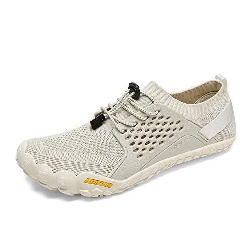 NORTIV 8 Men's Barefoot Water Shoes Lightweight Sports Aqua Shoes Outdoor Swim Fishing Hiking Diving Surf Walking Athletic Water Shoe Beige/Light/Grey Size 9 US TREKMAN-2
