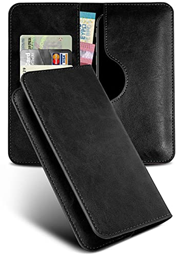 moex Excellence Line Handytasche kompatibel mit CAT S52 | Hülle Schwarz - Mit Kartenfach und Geld + Handy Fach, Klapphülle, Flip-Hülle Tasche, Klappbar