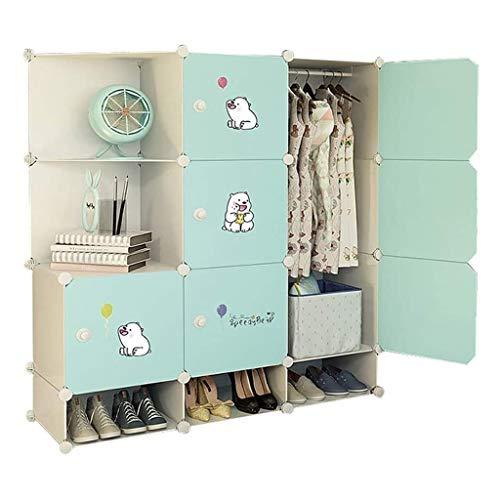 LYLY Armario portátil para armario, profundidad de dormitorio, armario modular con puertas, armario de almacenamiento de ropa, armario (color: verde, tamaño: A)