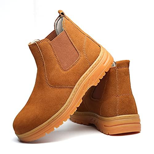 Zapatos de Trabajo Botas de Seguridad de Soldadura para Hombre Soldador  Zapatos de Trabajo Altos de Las Mujeres, Cuero de Gamuza Tobillo Cocina Industrial y construcción Entrenador Calzado