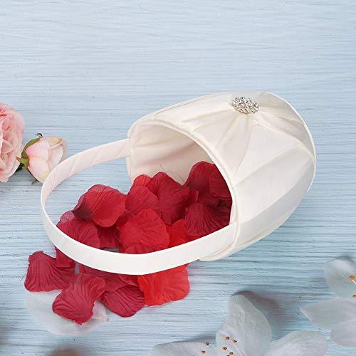 Bruiloft mand, met satijnen strik versierd aan elke kant, voegt een elegante touch, make-up mand, voor memorized voor bruiloft(Ivory)
