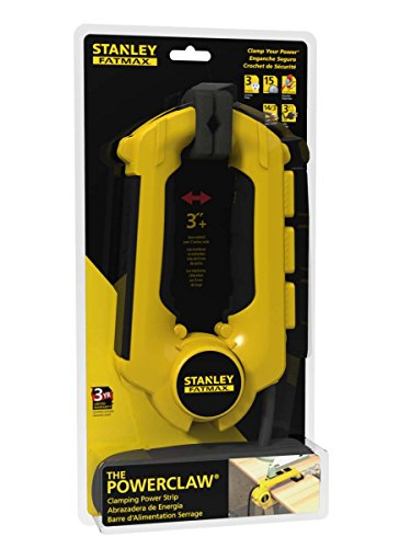Stanley 32050 FatMax Power Claw with Grounded 3-Outlet Clamping Power Strip , Yellow