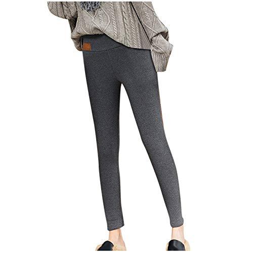 Eauptffy Leggings termici da donna, per l'autunno e l'inverno, caldi, con fodera in pile, con interno in pile, Grigio 2, XXL