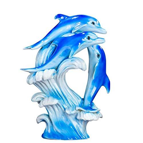 WYJW Home decor Europese dolfijn ornamenten, creatieve woonkamer studie slaapkamer tv kast dolfijn kunst ambachtelijke decoratie meubels (kleur: grijs)