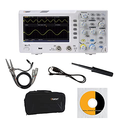 Nachar Osciloscopio electrónico USB de velocidad rápida de dos canales con pantalla LCD de 7 pulgadas, osciloscopio portátil con función de memoria