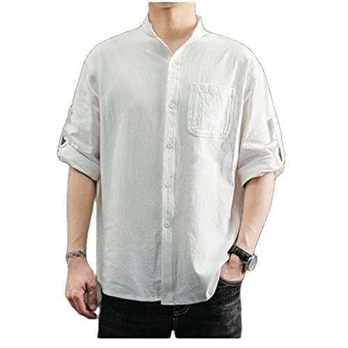 FZJDX Primavera otoño de talla grande a cuadros 100% algodón cómodo transpirable absorbente de sudor Casual camisa de manga larga para hombres (Color : White, Size : XXL code)