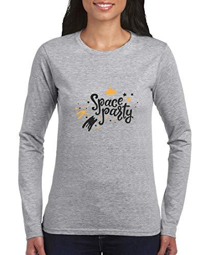 Druckerlebnis24 - Camiseta de manga larga para mujer (manga larga), diseño de nave espacial con estrellas gris XL