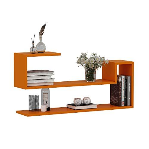 WAVE Mensola da muro - Mensola Parete - Mensola Libreria - Scaffale pensile per studio / soggiorno in Design moderno (Arancione)